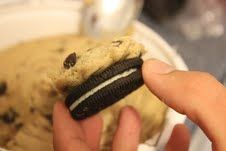 Easiest cookie recipe ever -- oreos and chocolate chip cookies combined