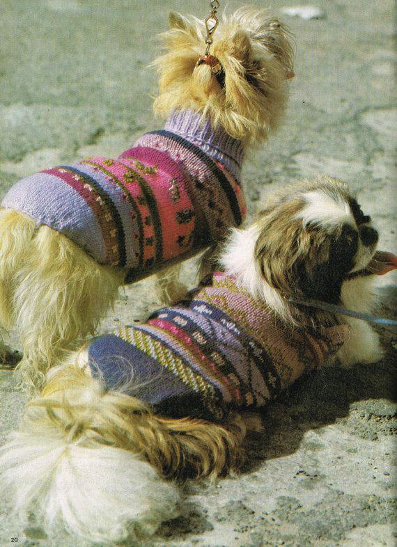 Two designs fairisle dog coats jumpers vintage by EnglishAran ...
