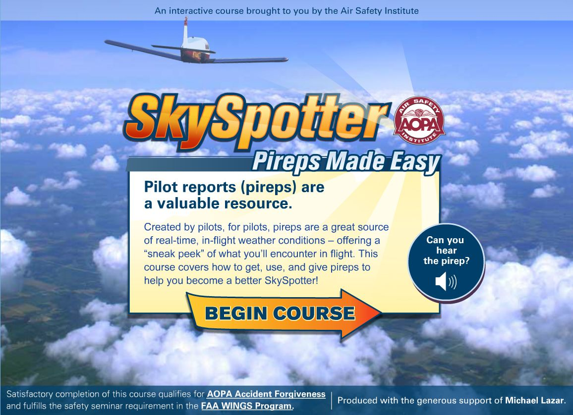 SkySpotter Pireps Made Easy Created by pilots, for