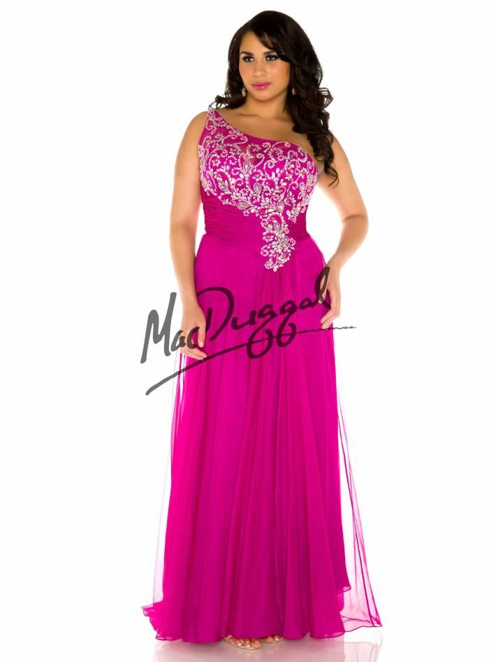 Magenta Prom Dress One Shoulder Gown Plus Size Dress Mac