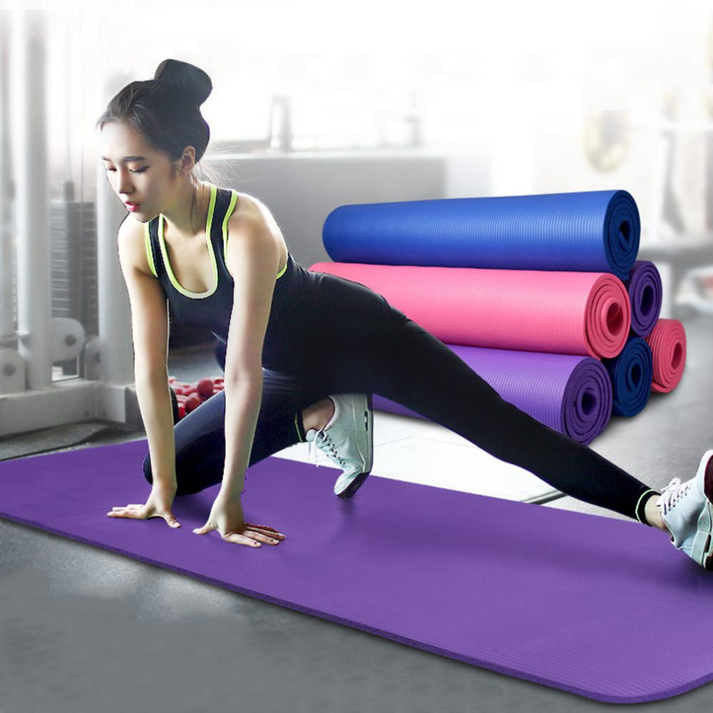 10mm Thick Exercise Fitness Use Exercise Mat For Yoga And Pilate Portable Non Slip Nbr Cushion For Outdoor Tra Pilates Workout Exercise Mat Exercises