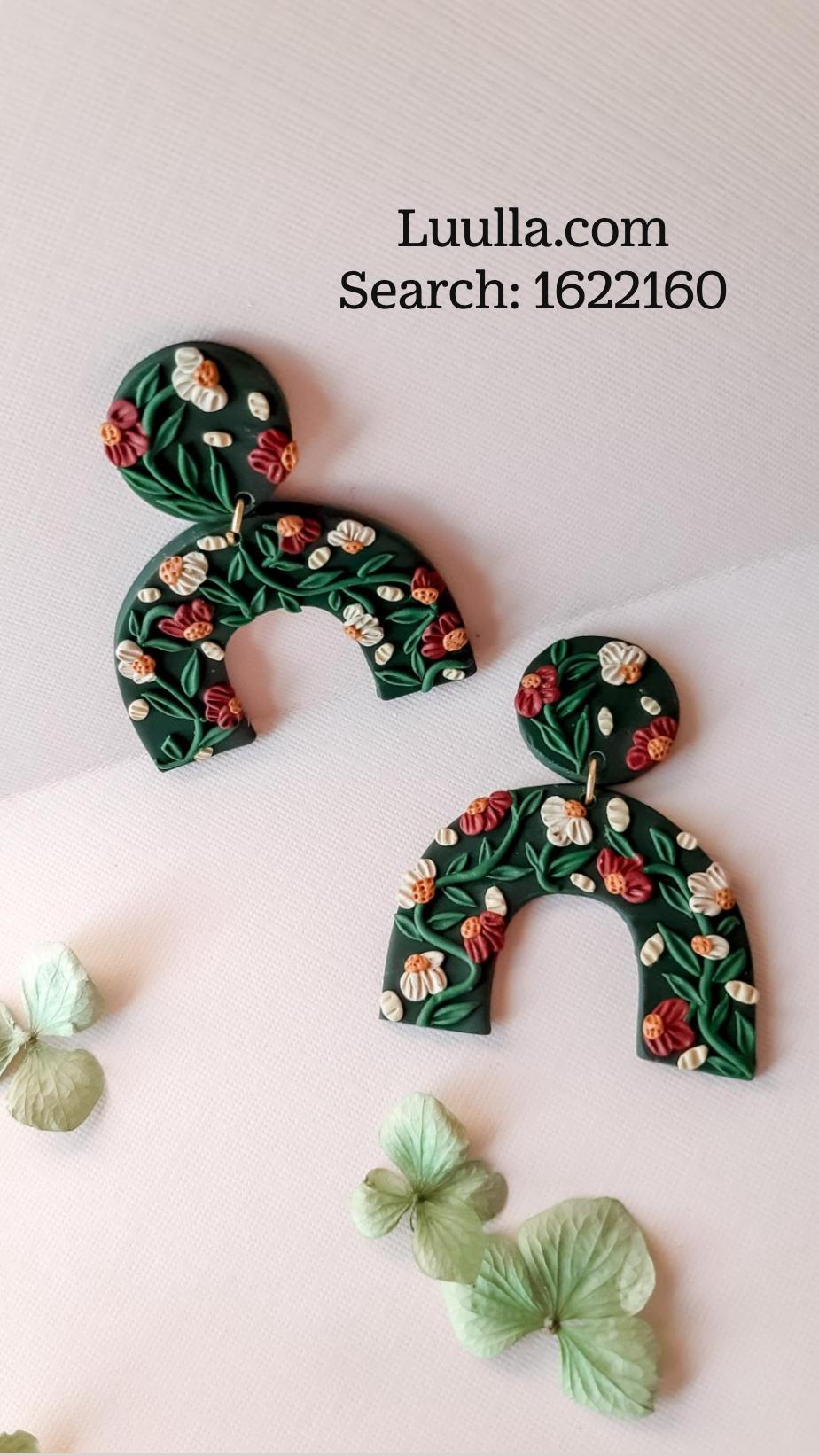 Handmade polymer clay earrings, unique clay drop earrings