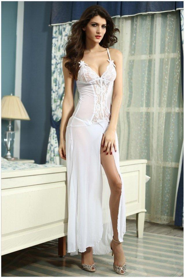 af20c313e707a Sexy Long Night Gown Long Lingerie Women Sexy Nightwear Sleepwear ...