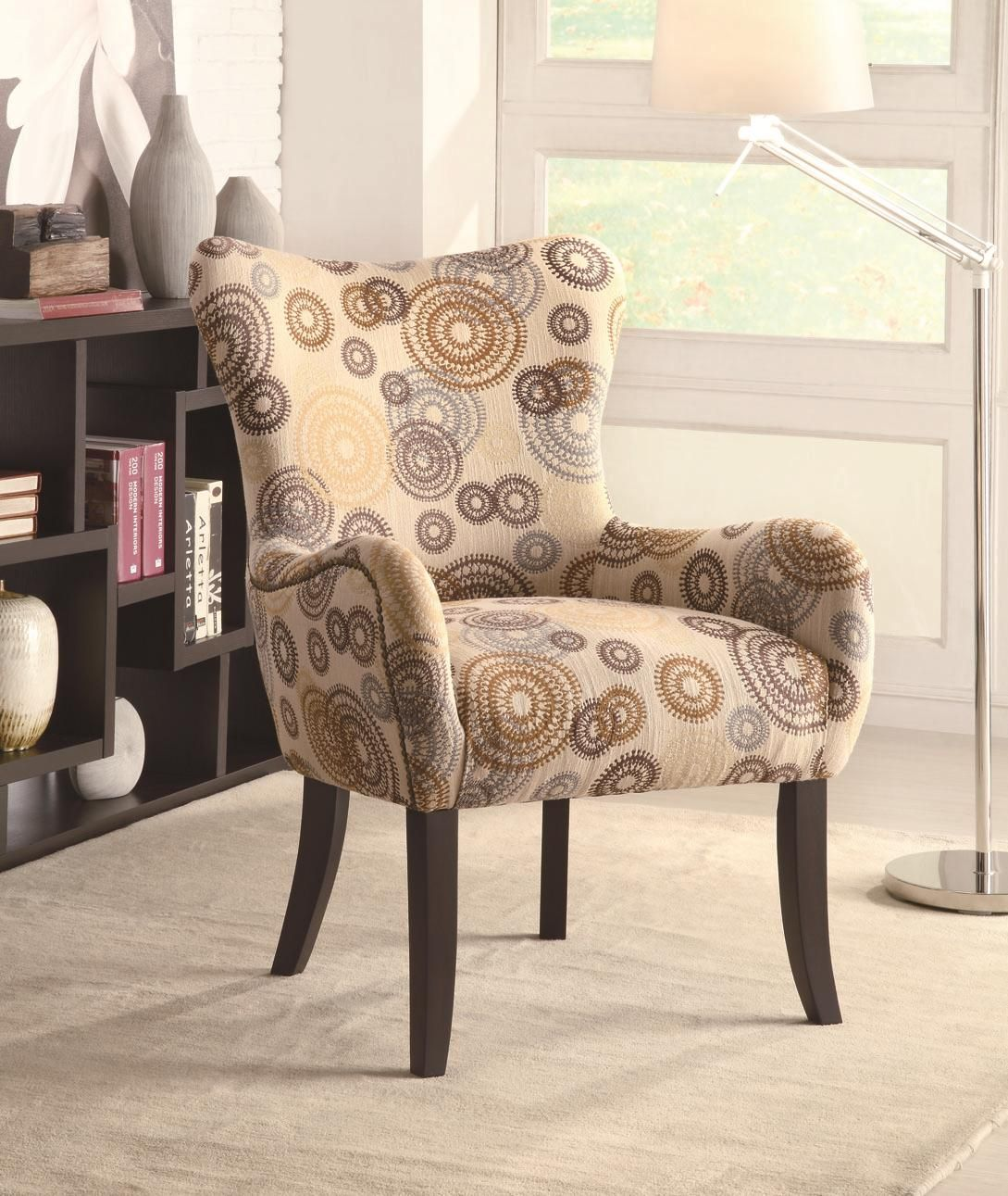 Best Plush Pattern Accent Chair With Beige Circles And Nailhead 640 x 480