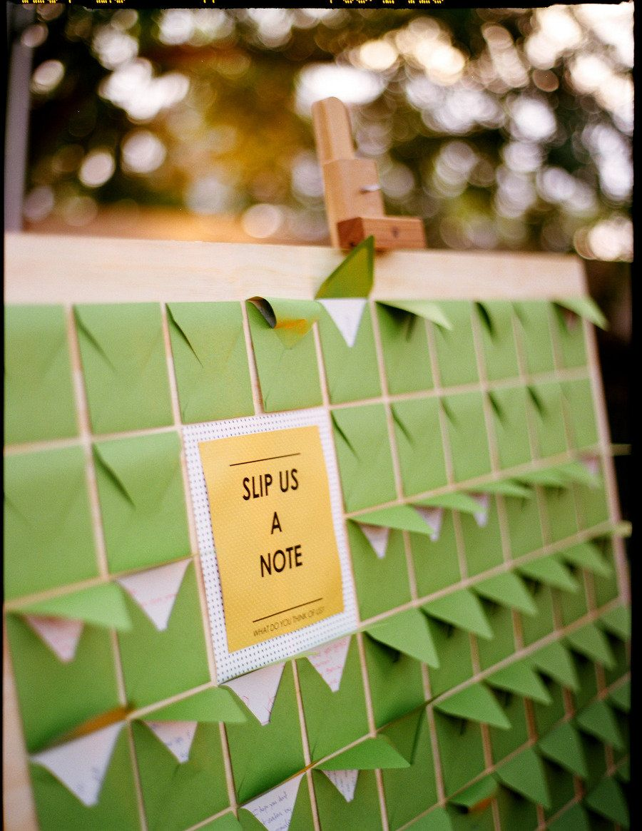 hand-written notes to the Bride and Groom in lieu of a guest book.