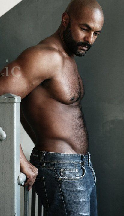 Nude black men with beards