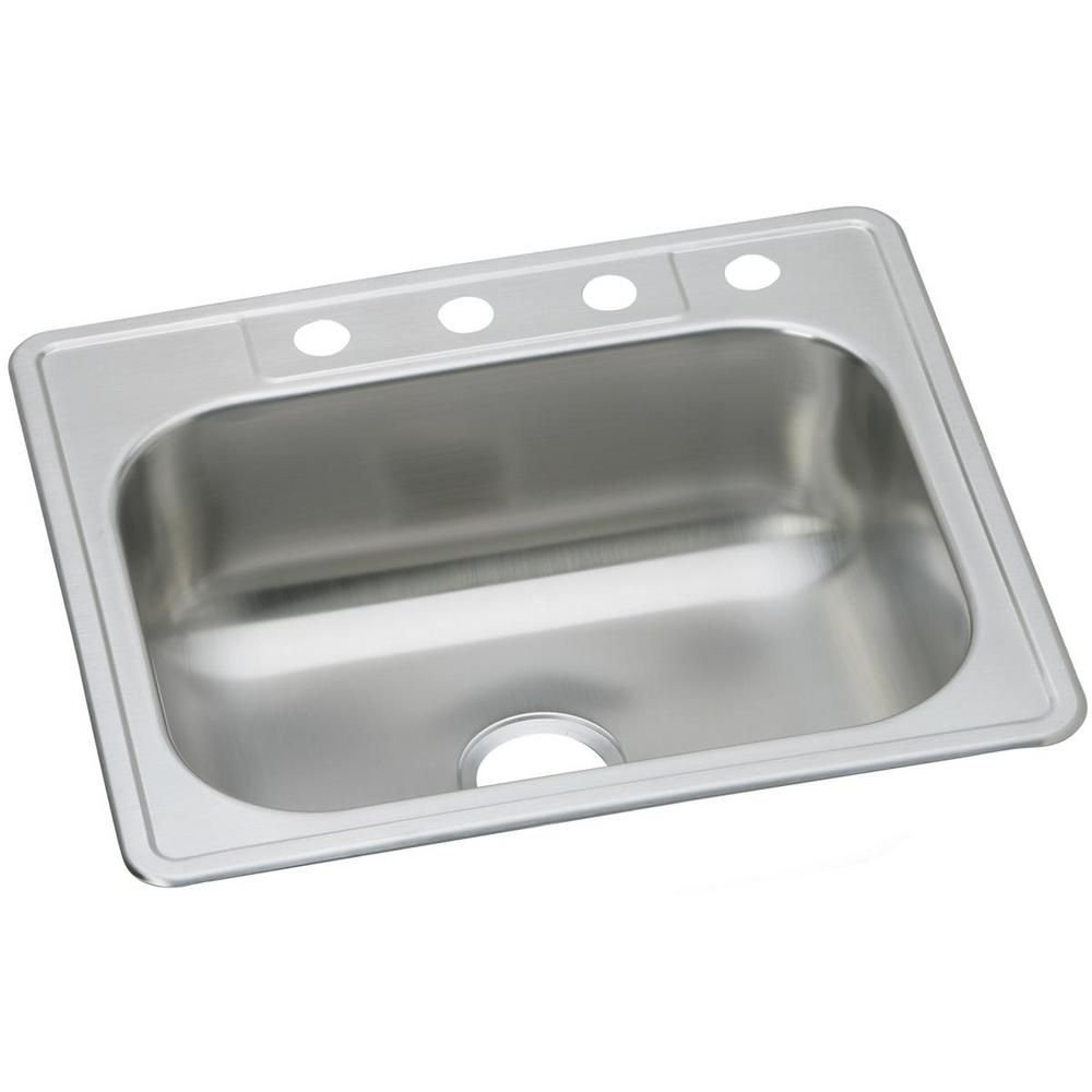 Elkay Dayton Drop In Stainless Steel 25 In 3 Hole Single Bowl