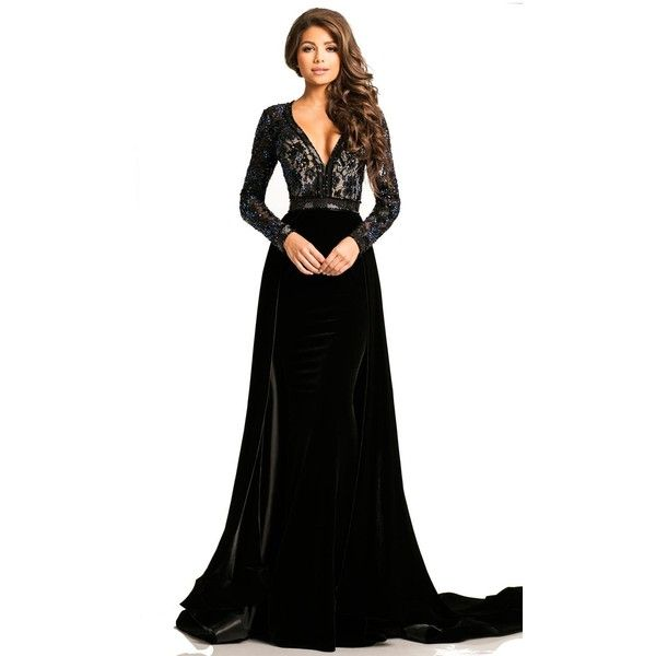 2c1c63a04194 Johnathan Kayne 8013 Evening Dress Long V-Neck Long Sleeve ( 950) ❤ liked  on Polyvore featuring dresses
