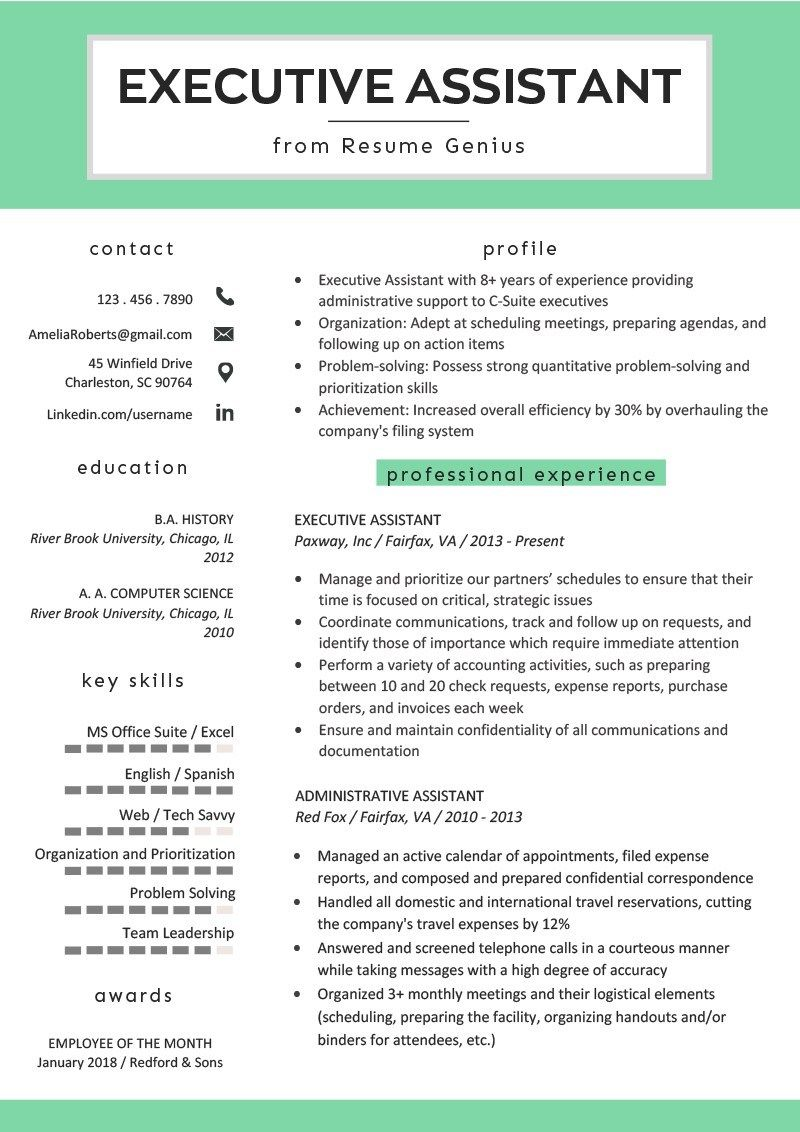 How to write an outstanding executive assistant resume