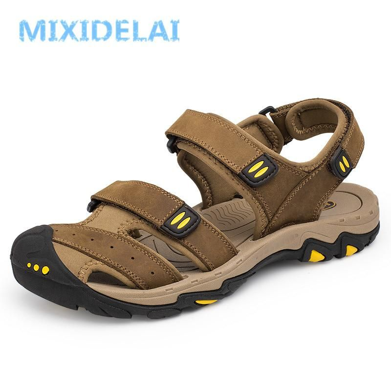 e4d247101739 MIXIDELAI New Fashion Summer Outdoor Beach Breathable Men Sandals Genuine  Leather Men s Sandal Man Causal Shoes Plus Size 39-47.