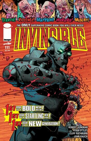 The cover to Invincible #111 (2014), art by Ryan Ottley & John Rauch