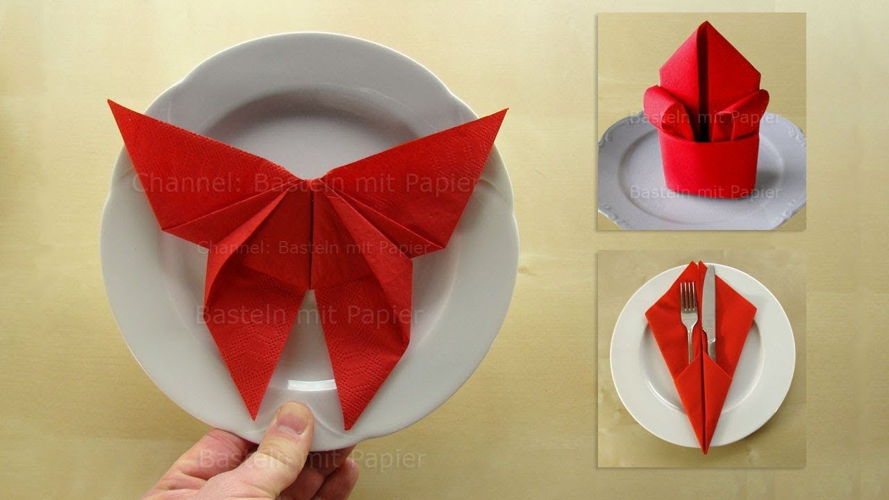 3 Napkin folding techniques: Butterfly