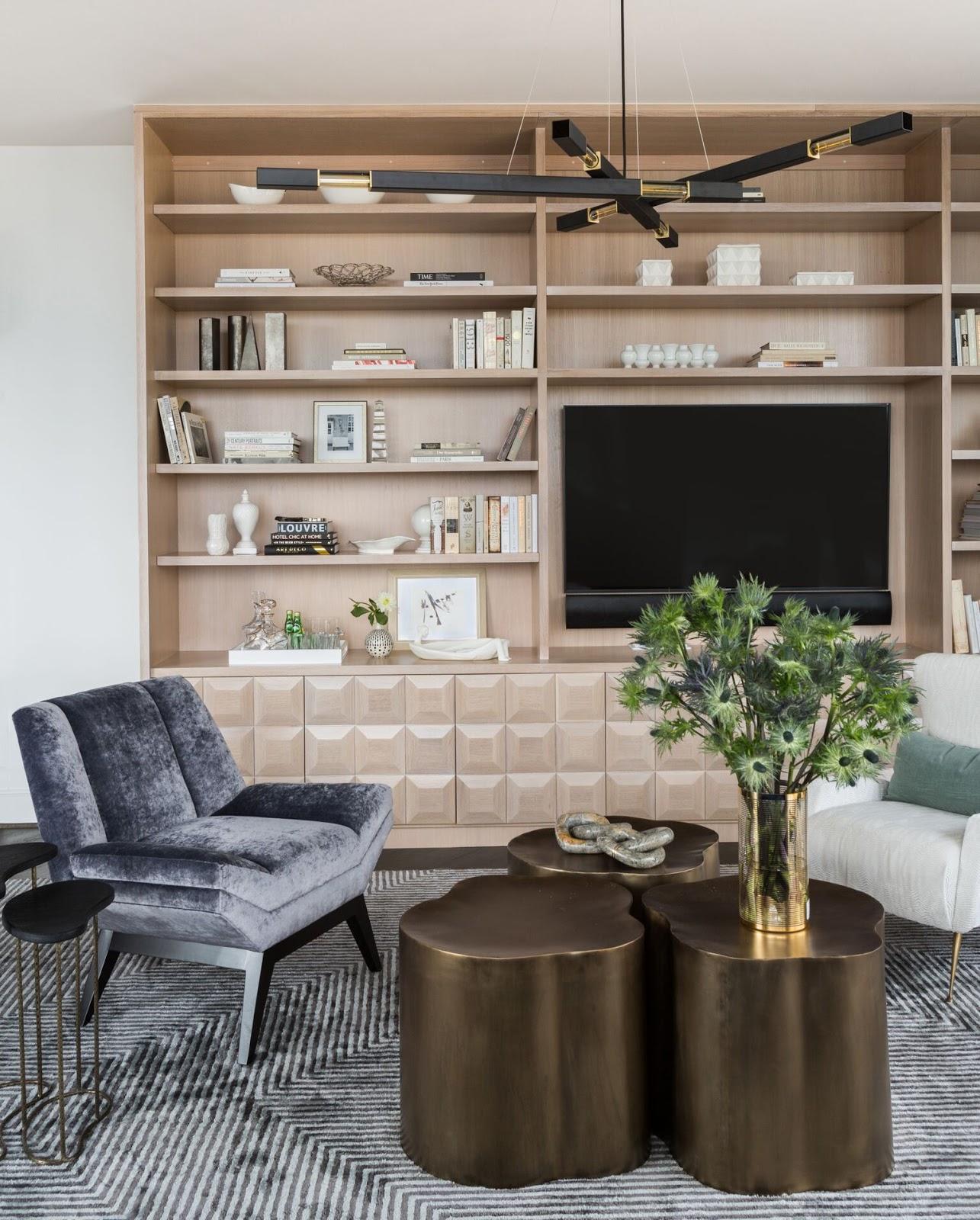 City Living  Living Room Contemporary With Custom Builtins And