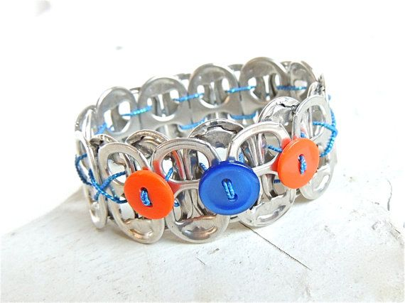 Soda Tab and Button Bracelet  blue and orange  team by FabTabulous, $8.00
