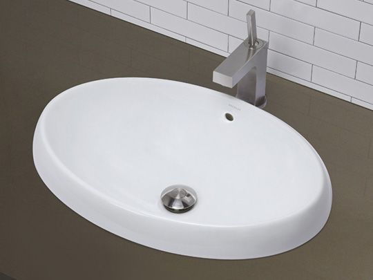 Semi Recessed Deep Oval Vitreous China Vessel Sink With Overflow