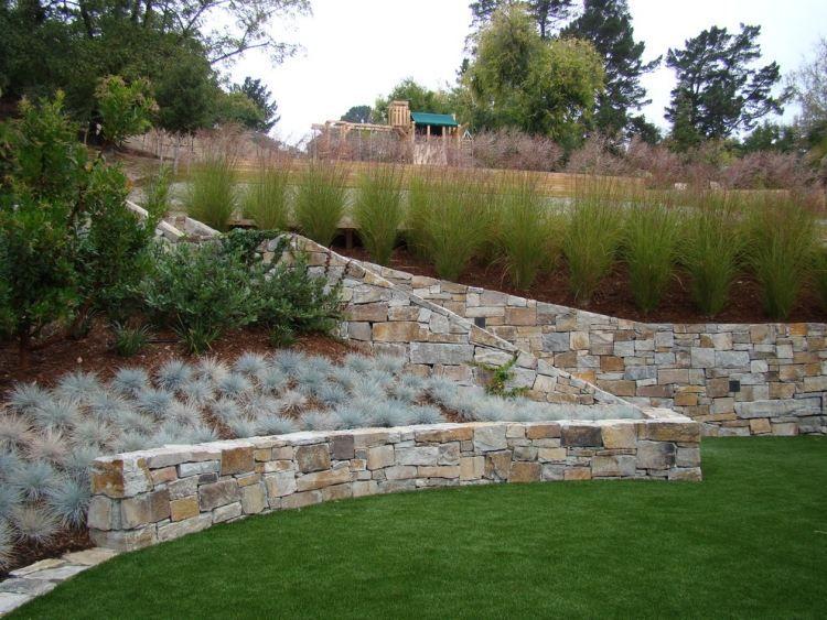 Jardin en pente id es d 39 am nagement et conseils for Modele de mur en pierre exterieur