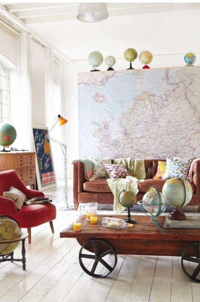 Diy Deko Globen Holzboden Ausgefallener Couchtisch Akzentwand Weltkarte