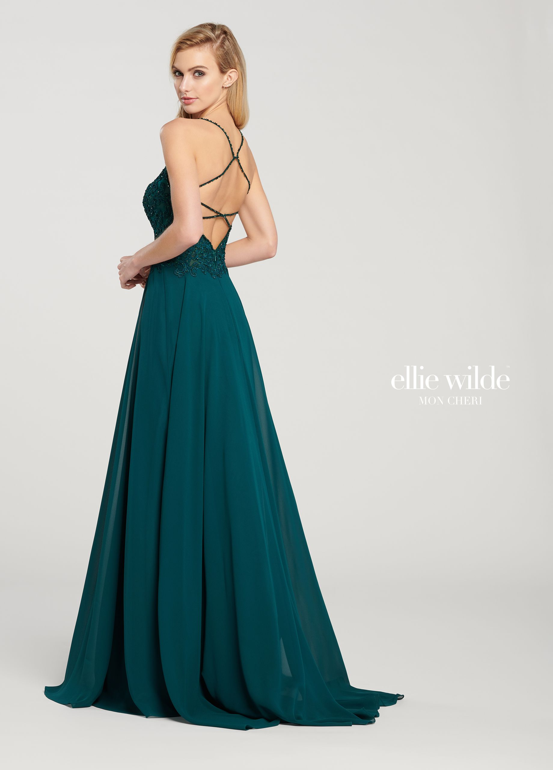 0619a0a13ed6 Ellie Wilde EW119155 - Gorgeously feminine, this sleeveless chiffon and  embroidered lace A-line gown features beaded spaghetti straps, a beaded deep  ...