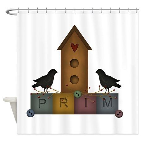 Primitive Birdhouse Shower Curtain On CafePress