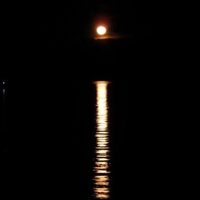 This Photo Is Of Seattle Washington'S Business District At ...   Full Moon Reflecting Off Water