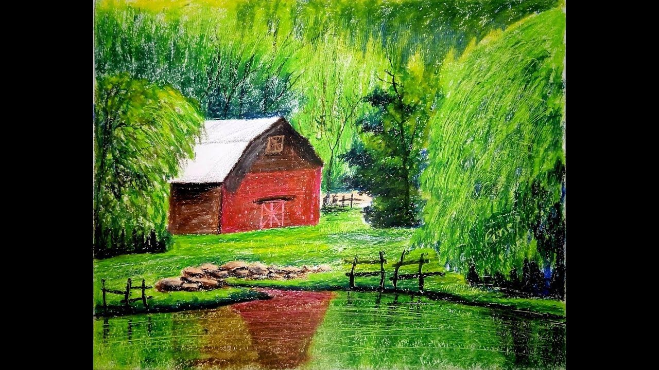 Oil Pastel Drawing For Beginners Scenery Drawing With Oil Pastels Oi Easy Landscape Paintings Oil Pastel Landscape Oil Pastel Art