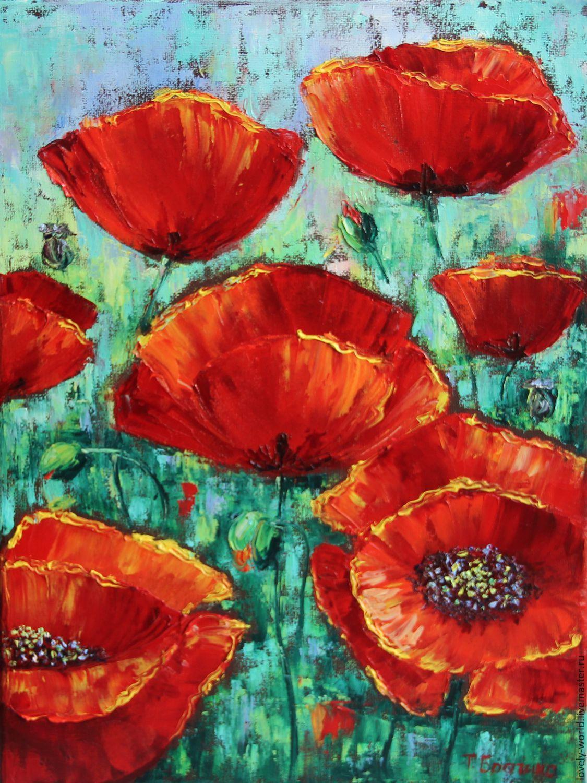 """Картина маслом """"Солнечные маки"""" - ярко-красный, маки, цветы, картина маслом, подарок"""