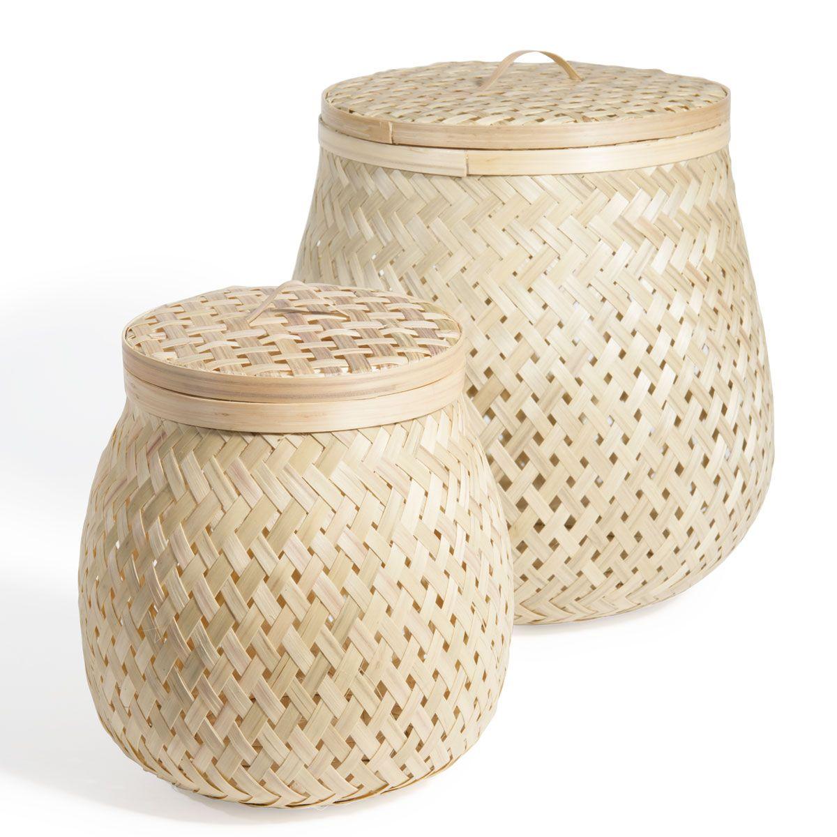 2 pots tressés Bambou Pot petit modèle : L12 x H17 Pot grand modèle : L17 x H22 Réf. 139802 17.98E