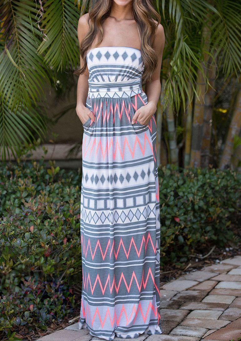 Geometric Zigzag Printed Maxi Strapless Dress