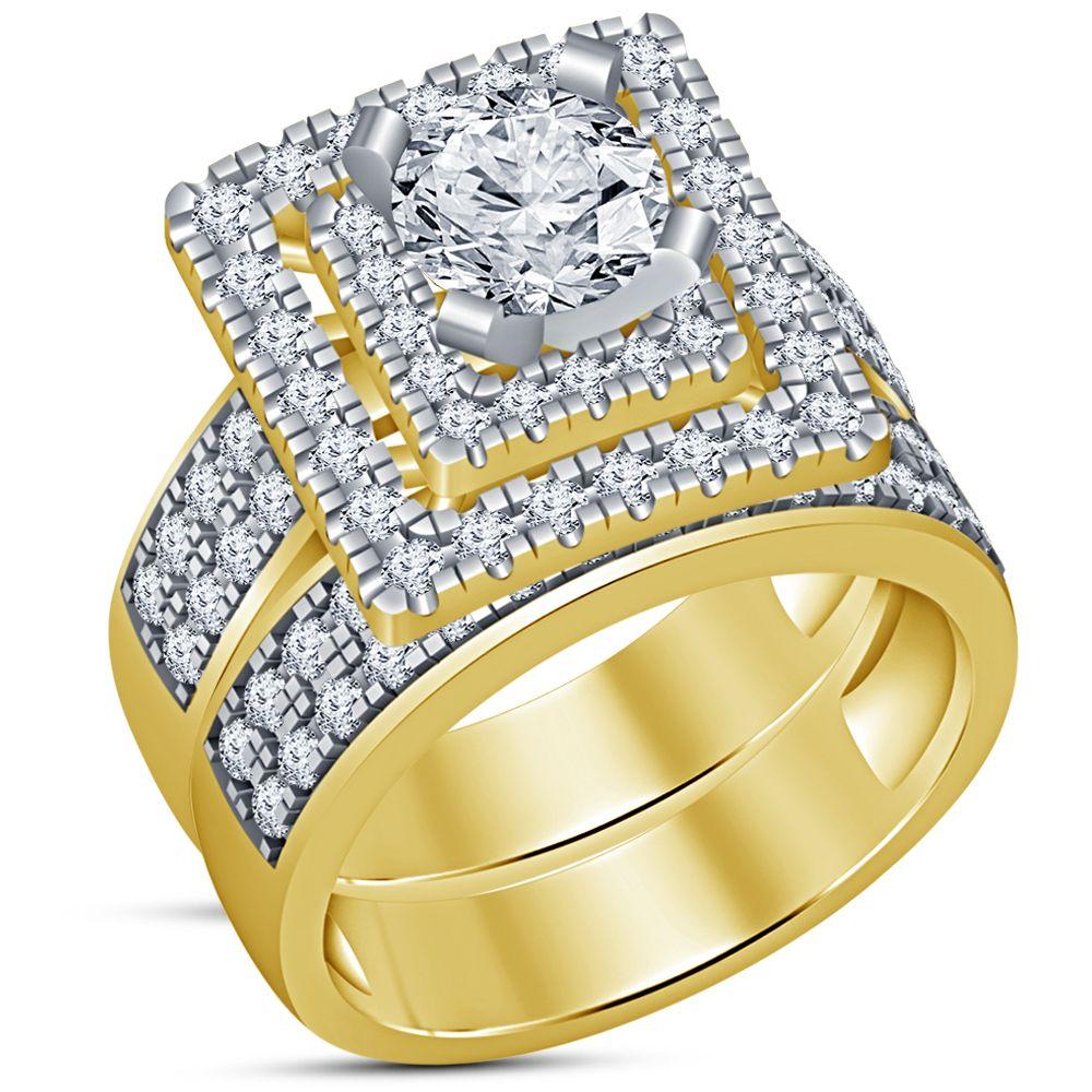 14k yellow gold finish 925 silver round diamond ladies