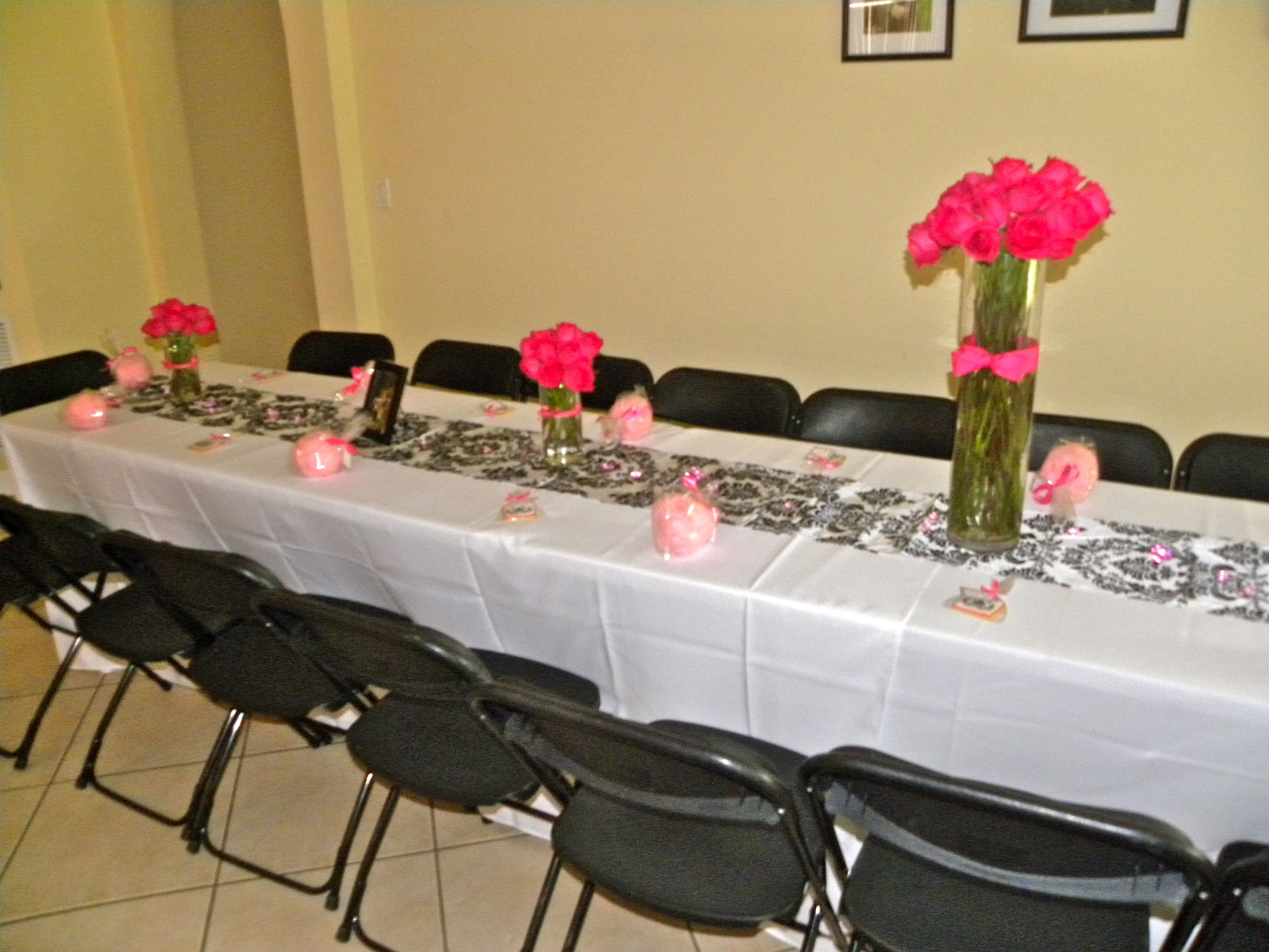 hot pink bridal shower decorations adult events hot pink damask bridal shower
