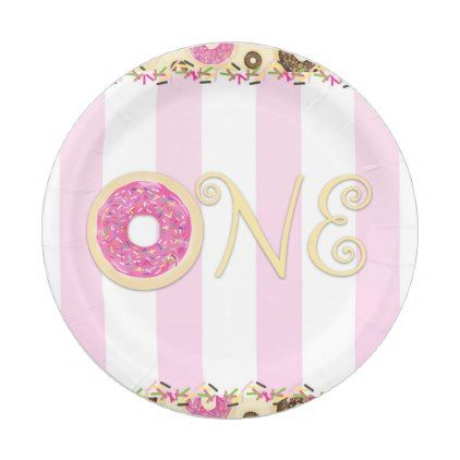 sc 1 st  Pinterest & Pink Brown Sprinkle Donuts ONE 1ST Birthday Party Paper Plate