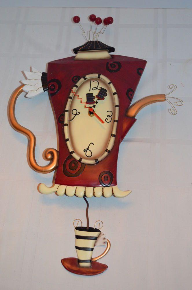 Whimsical Art Steaming Teapot Wall Clockswinging Pendulum Ships In