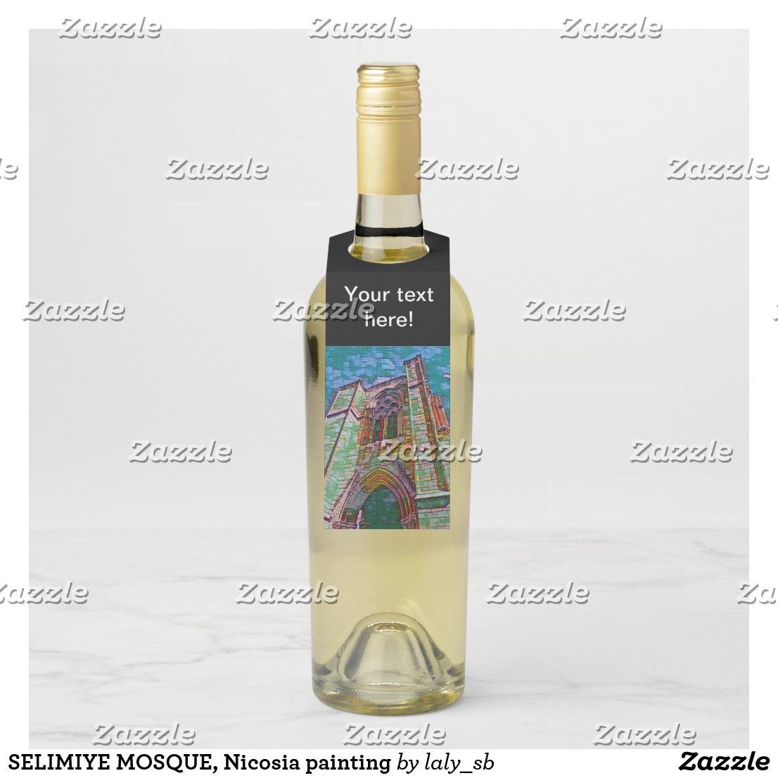 Selimiye Mosque Nicosia Painting Bottle Hanger Tag Bottle Wine Bottle Tags Custom Wine Tags