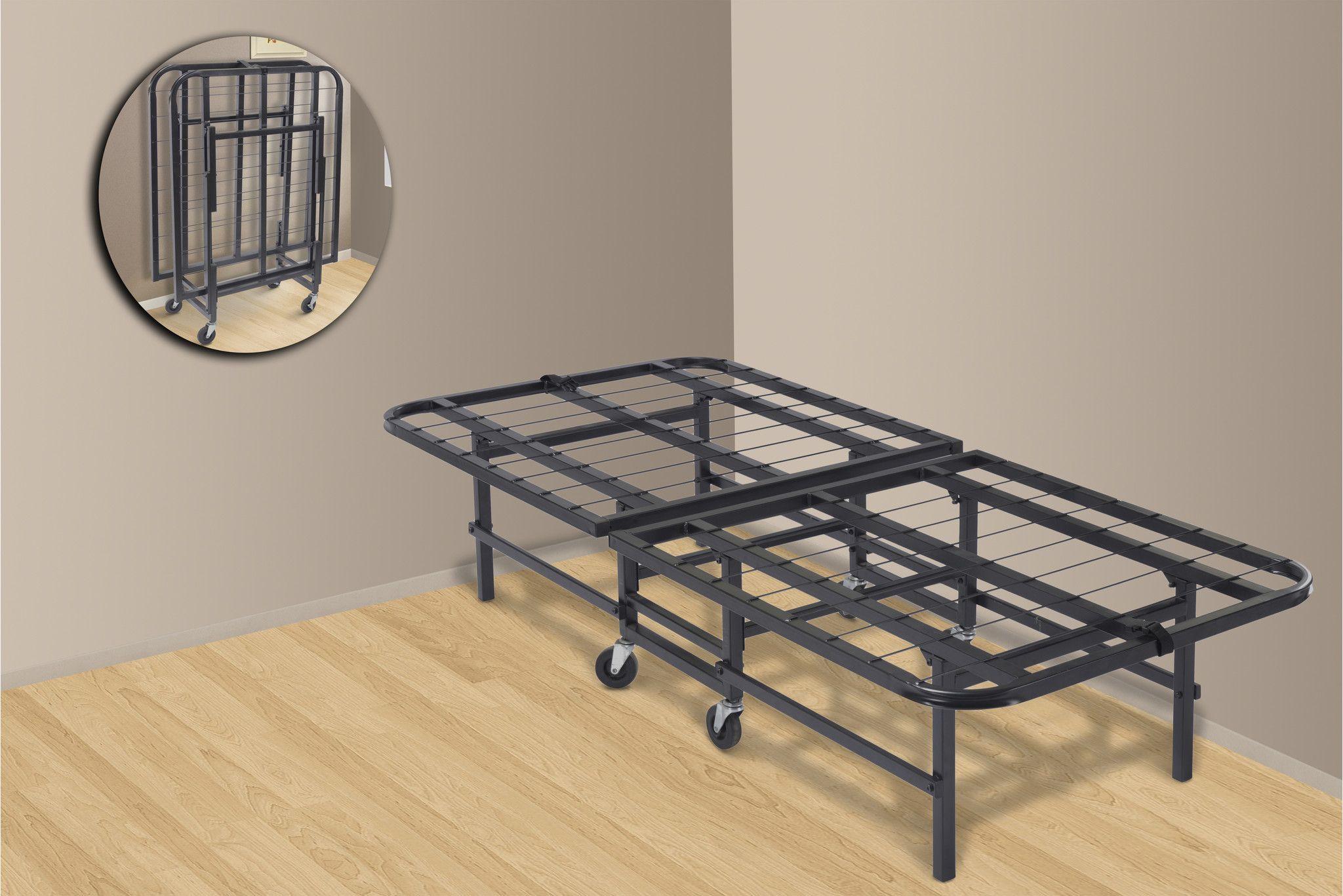 Angel Folding Platform Bed Frame Black Metal Twin Folding