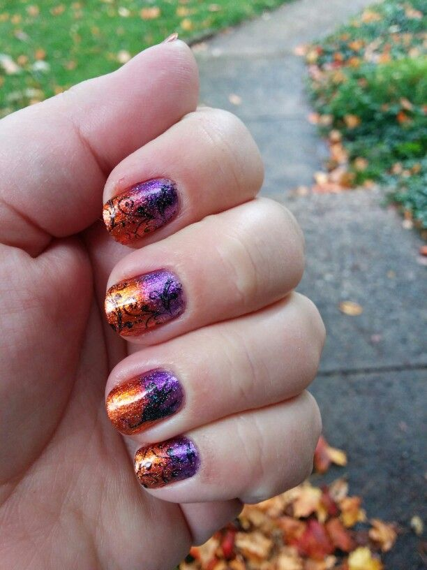 Halloween nails. Purple orange gradient w fairydust sparkle and ...