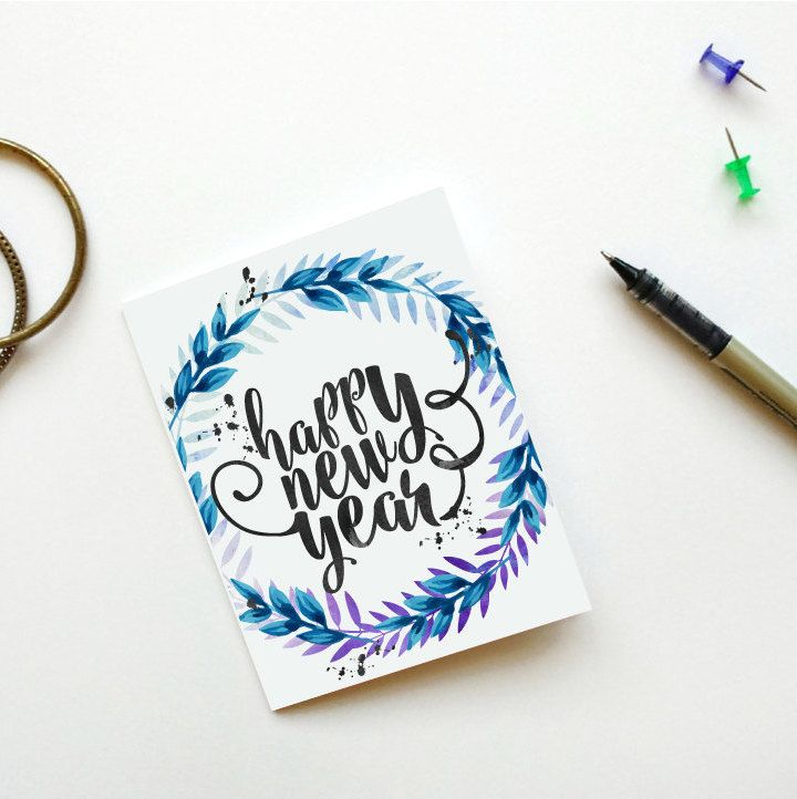 happy new year cardprintable new years cardinstant downloadfloral new year cardhappy new yearhand lettered cardholiday cardsdigital 500 usd by