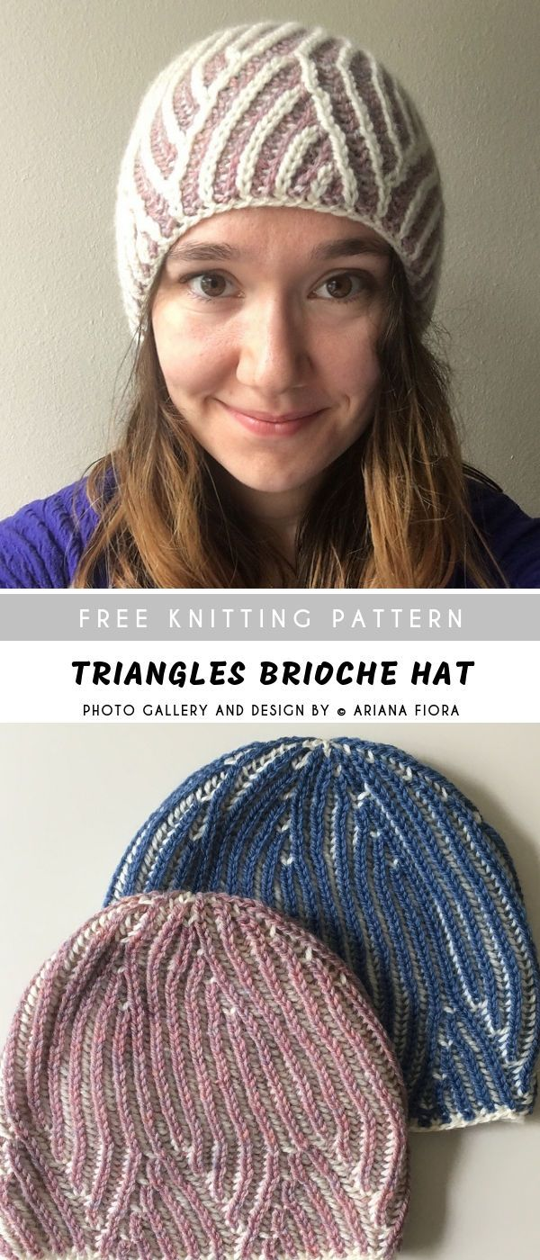 Triangles Brioche Knitting Hat with Free Pattern ...