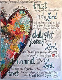 Delight Mixed Media Heart Print ( Ps. 37:4-5) Copy