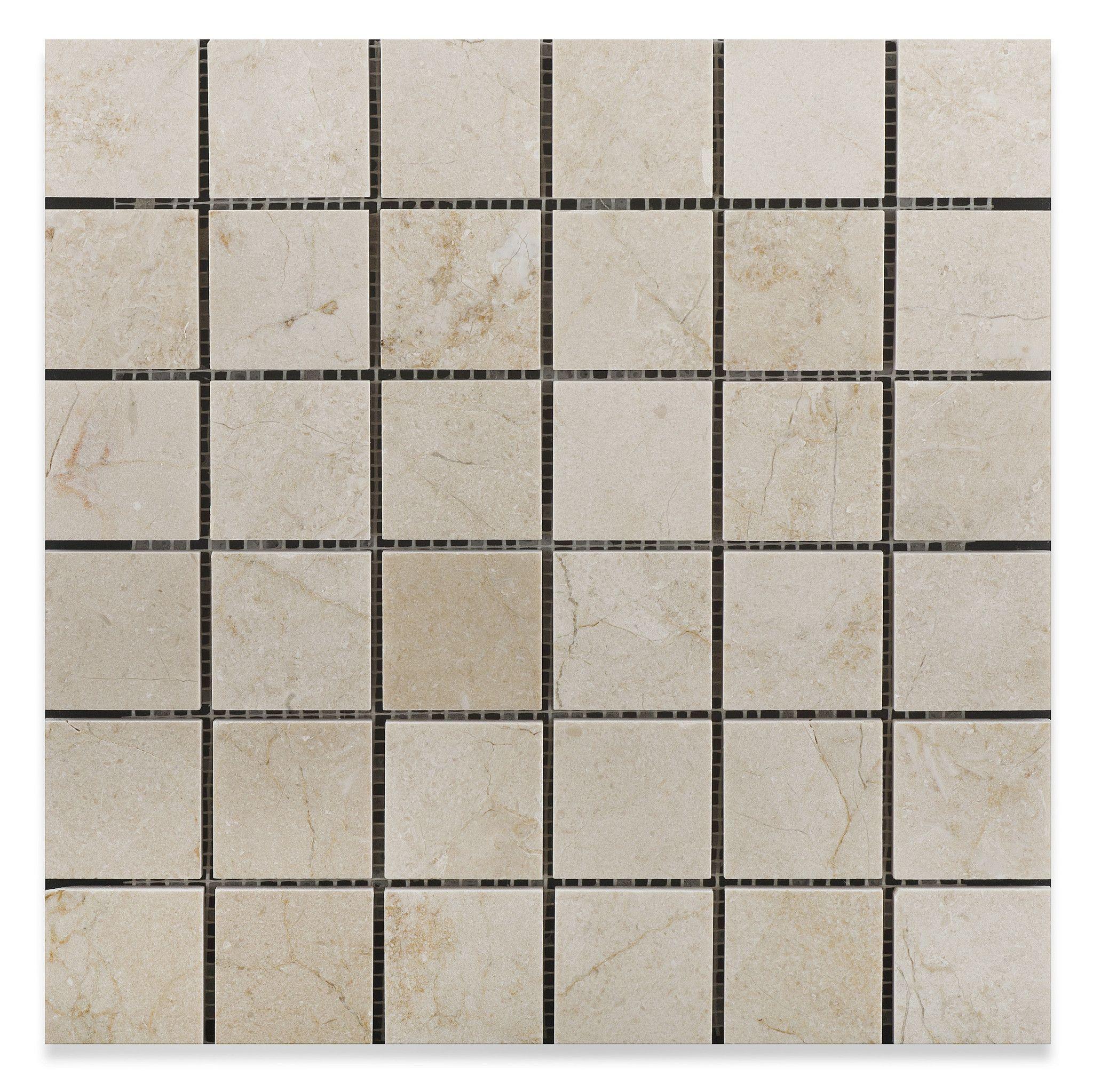 2 X 2 Crema Marfil Marble Polished Mosaic Tile Marble Polishing Mosaic Tiles Tile Samples