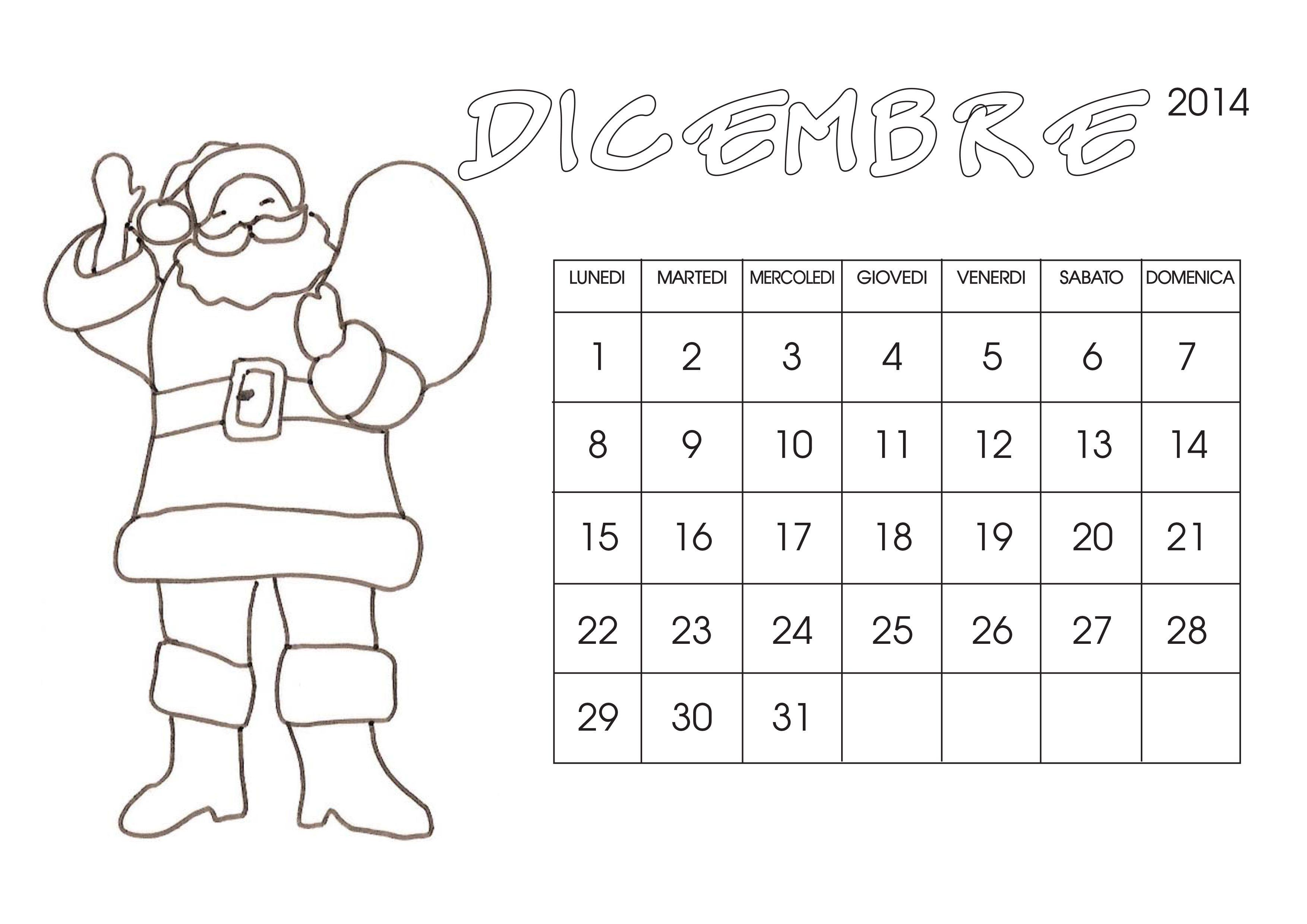 Calendario Dicembre 2021 Bambini Calendario 2014 da colorare   Cose Per Crescere | Calendario