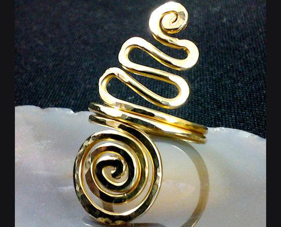 Omazi Solid Brass Ring Spiral and Kundalini  Design Hand Hammered Hand Made