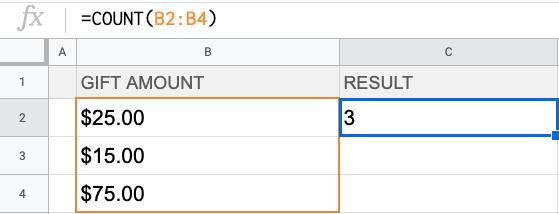 Formula: =COUNT(B2:B4)