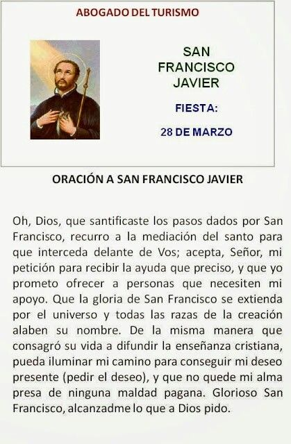 San Francisco Javier Abogado Del Turismo Orar Pinterest