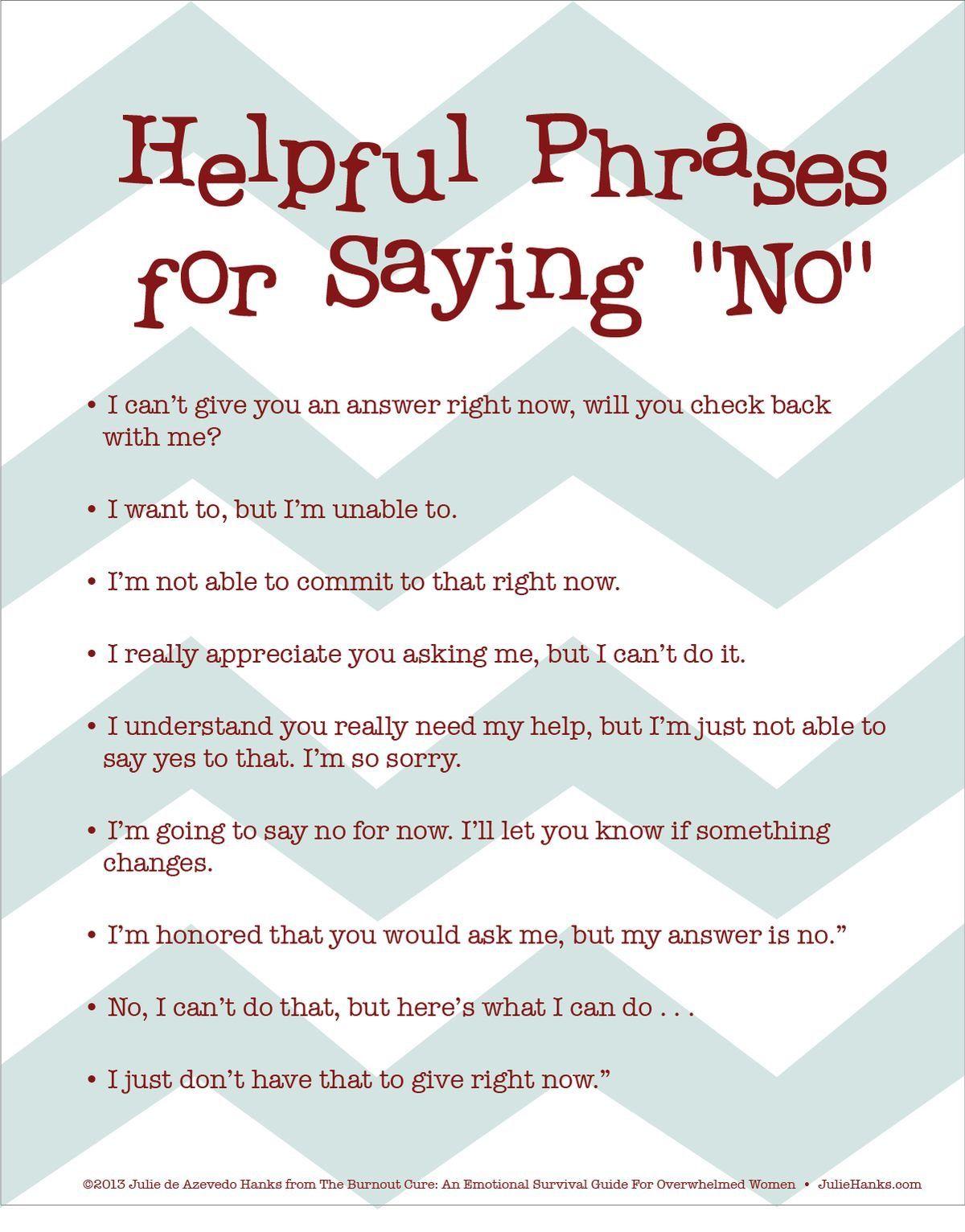 Helpful Phrases For Saying No Psikologi Kosakata Kepemimpinan