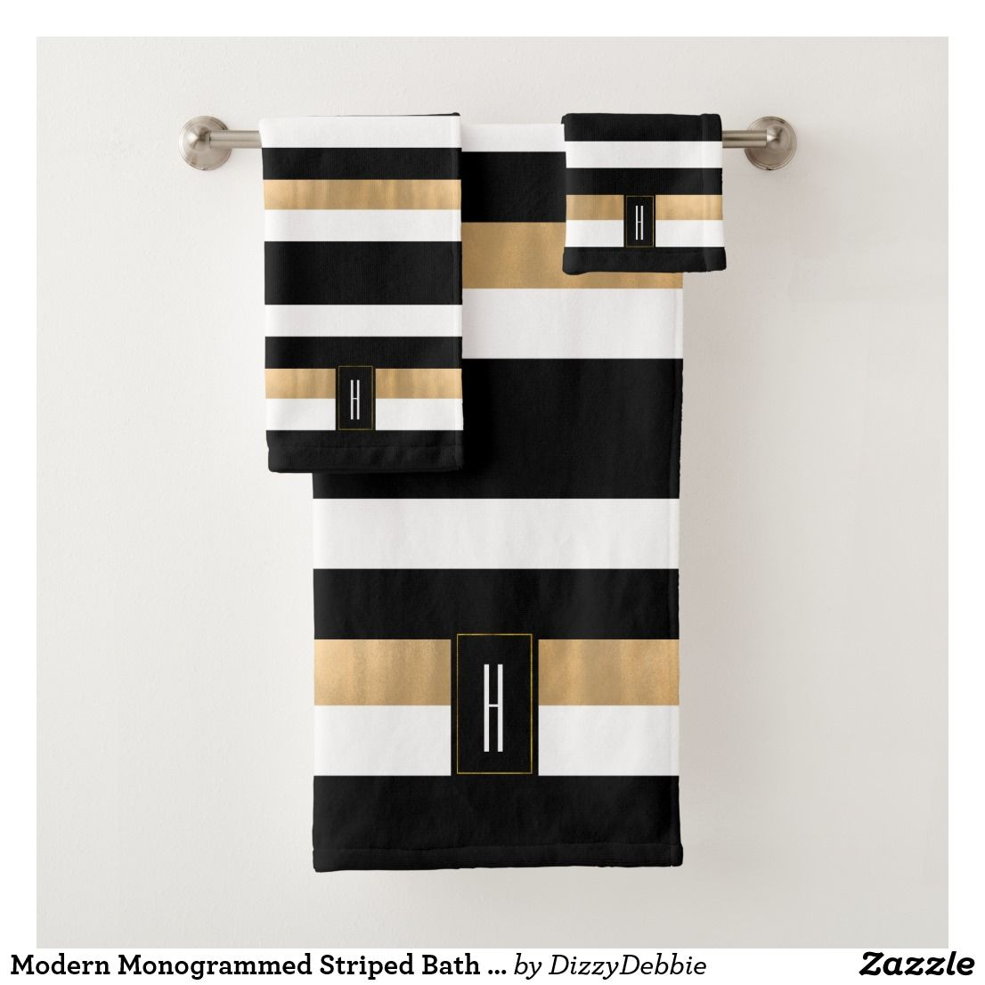 Black And White Stripes Pattern Gold Accents Bath Towel Set Zazzle Com In 2020 Black And Gold Bathroom Stripes Pattern Bath Towel Sets