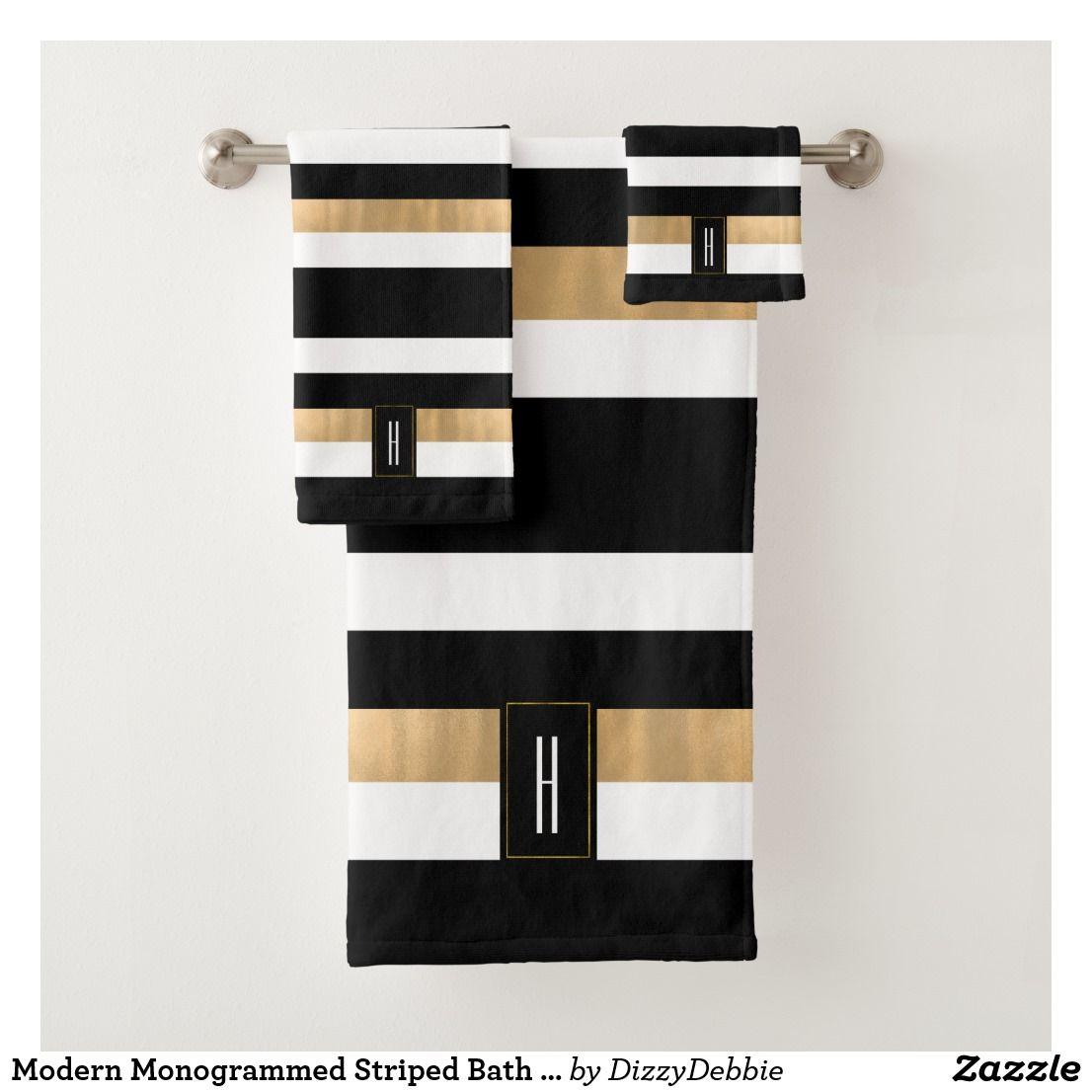 Modern Monogrammed Striped Bath Towel Set | Zazzle.| Black and