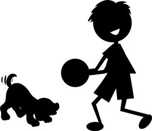 Free Boy Clip Art Image: Silhouette of Little Boy Playing with Puppy Dog