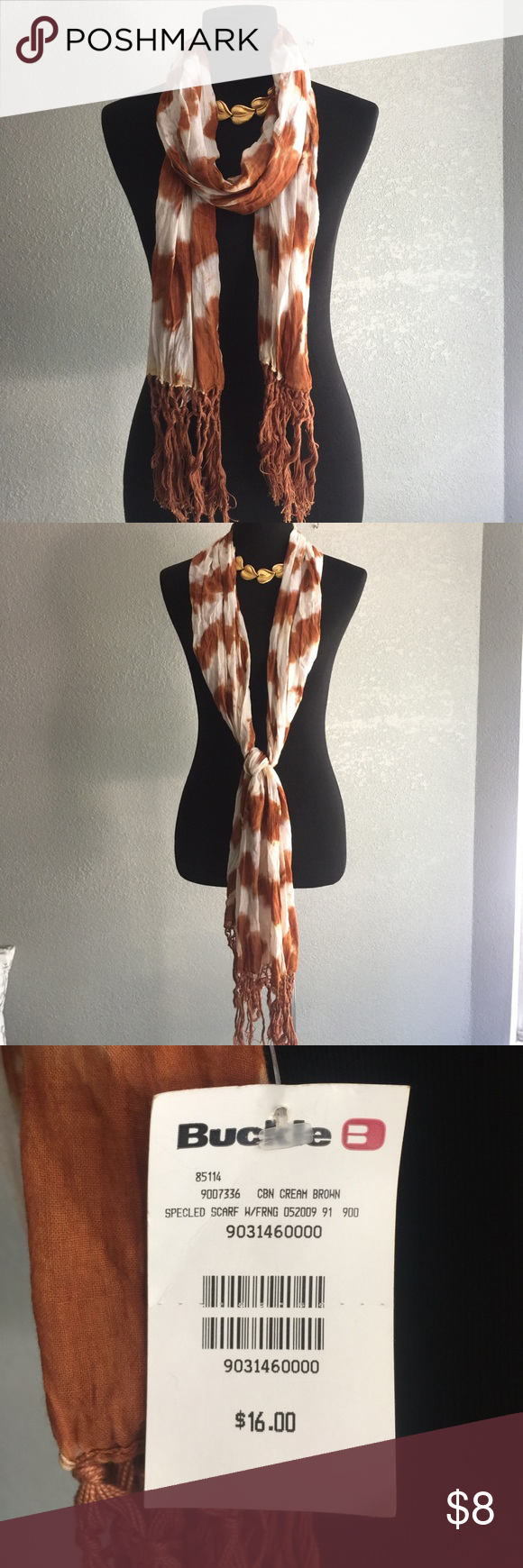 Buckle tye dyed scarf NWT Cute lightweight material scarf to finish your look. Buckle Accessories Scarves & Wraps