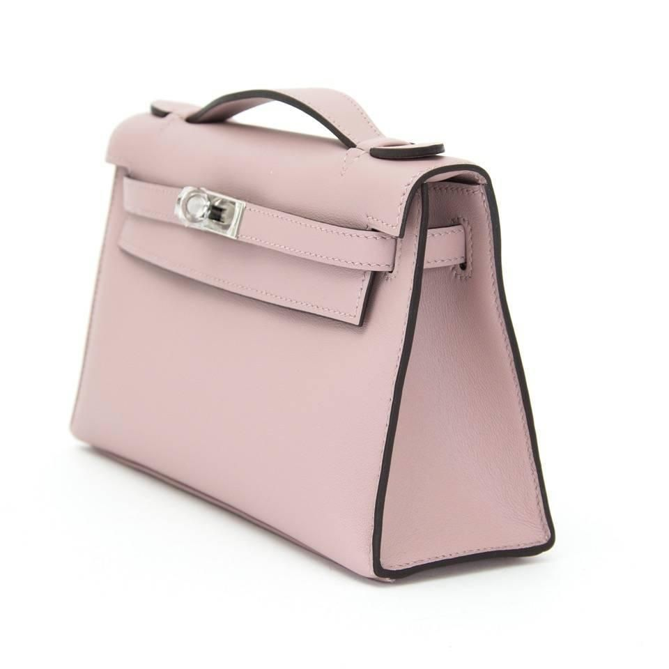 Brand New Hermes Kelly Pochette Bag Mini Swift Glycine 5