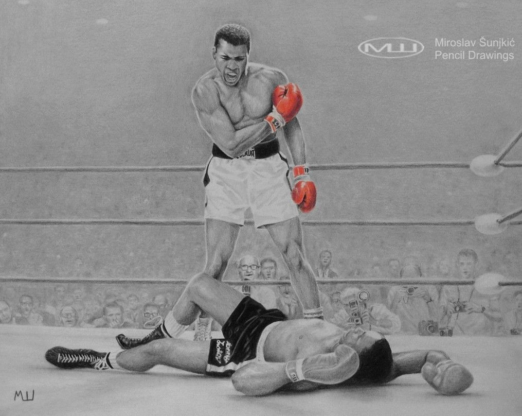 how to draw muhammad ali boxing
